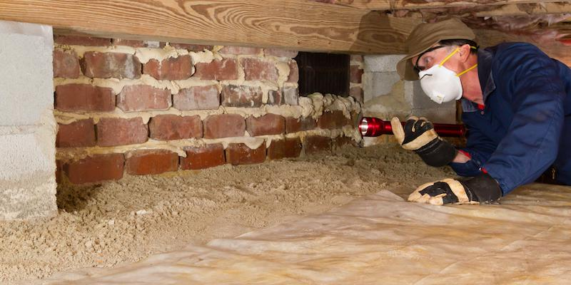 Person inspecting crawl space. Interstate Pest Management serving Portland OR & Vancouver WA talks about How to Protect Your Crawl Space.