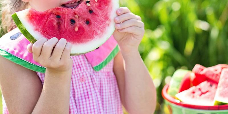 Little girl eating a watermelon slice. Interstate Pest Management serving Portland OR & Vancouver WA talks about 7 tips to deal with bugs.